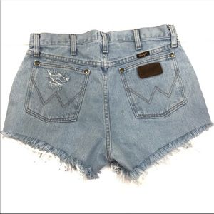 Wrangler Redone Cutoff Light Wash Jean Shorts